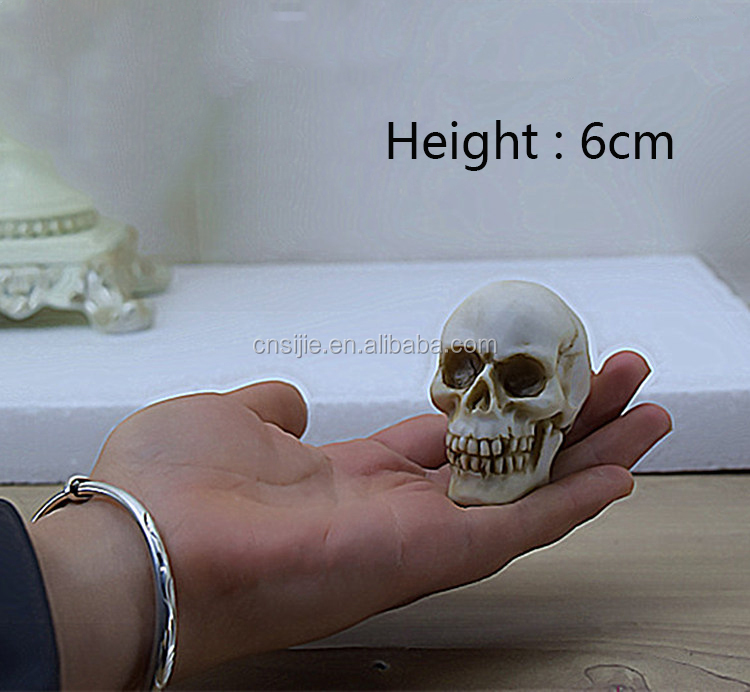 Custom high quality hand carved pol resin skull head crafts