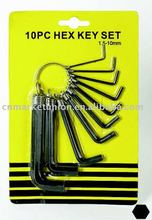 10PCS HEX HEY WRENCH SET
