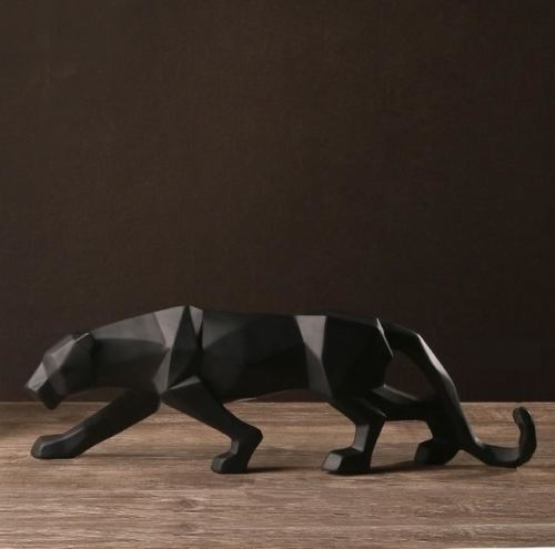 Modern Abstract Black Panther Sculpture Geometric Resin Leopard Statue Wildlife