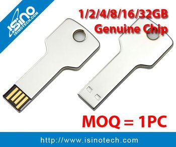 Stainless Steel Key USB Flash Drive 2GB, 4GB, 8GB, 16GB, 32GB, Genuine USB Chip Guaranteed
