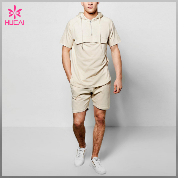 Custom High Quality Cotton Comfort Activewear Mens Hoodie Shorts Set