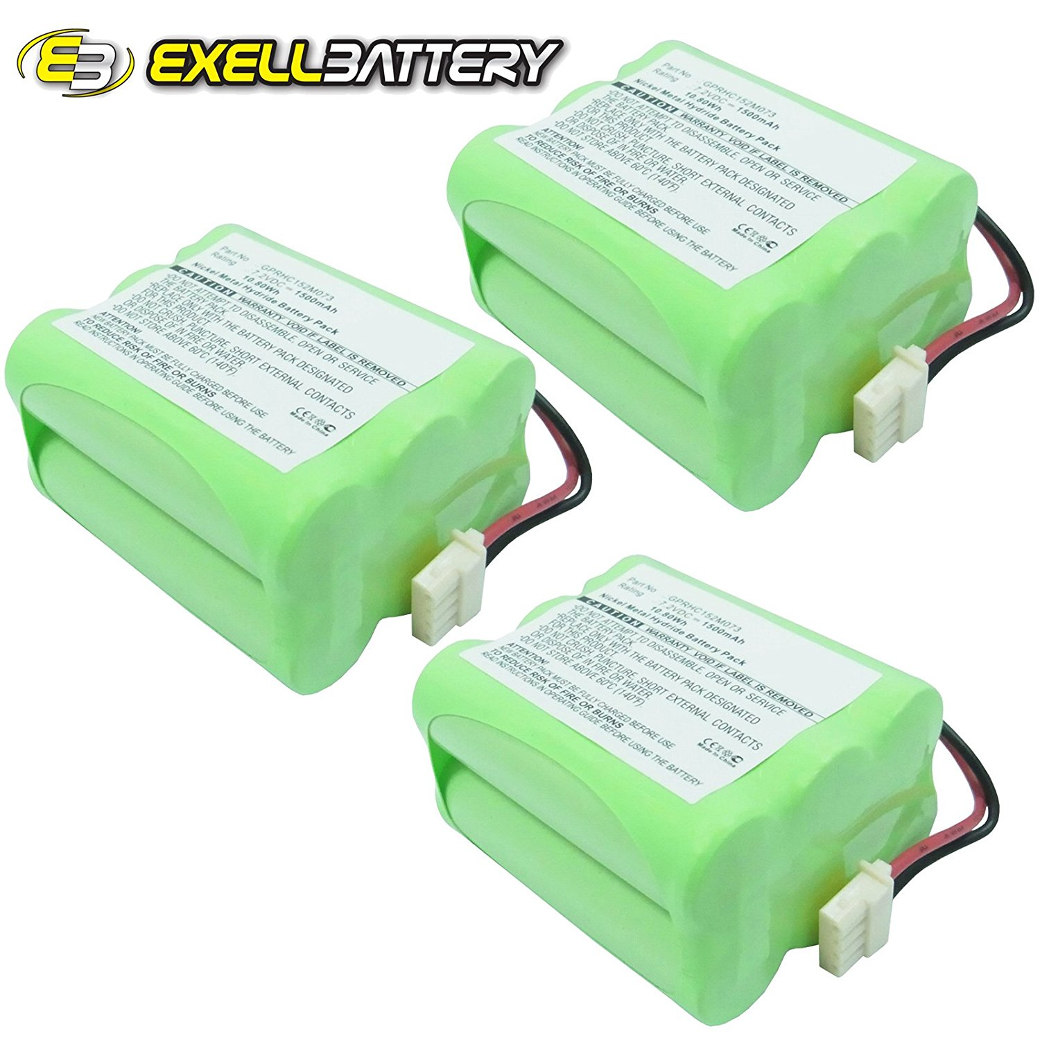 3x Exell 7.2V Battery Fits iRobot Braava 320 321 Replaces 4408927 GPRHC152M073