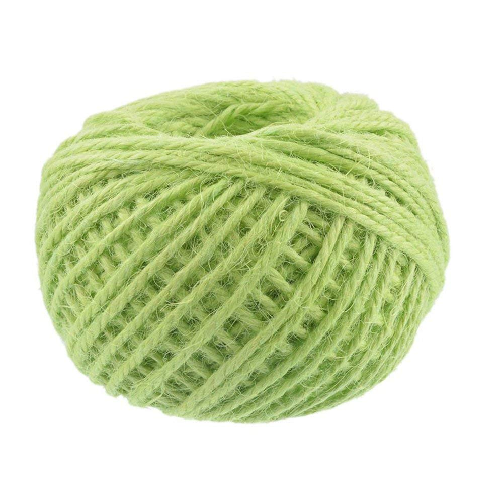 1Roll 50M Natural Burlap Hessian Jute Twine Cord Hemp Rope String 2mm Rustic Wrap Gift Packing String Wedding Decoration Green
