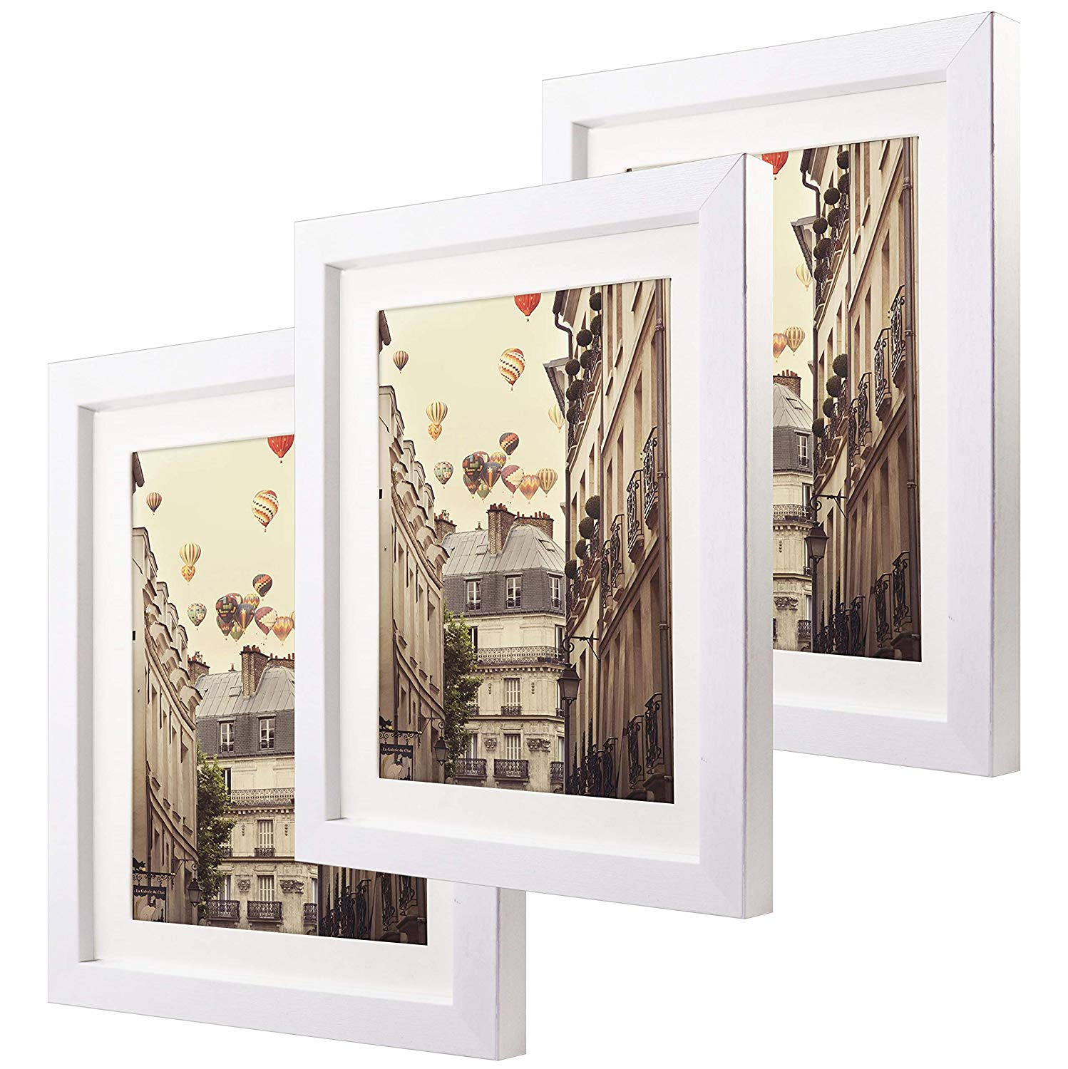 8x10 Matted Picture Frames Set of 3 Glass Front Made to Display Pictures 6x8 with Mat or 8x10 Without Mat for Wall & Tabletop(White)