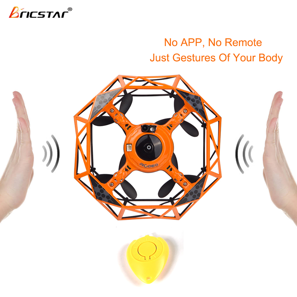 Bricstar Gesture Sensor Control RC Mini Pocket Drone Interactive Playing Quadcopter hover UFO