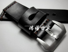 24 26mm Handmade Vintage Black Calf Leather Watch Strap Band For Panera
