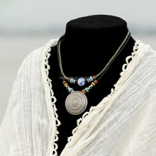 Tibetan silver alloy disk pendant charm wood beads dual wrap cotton cord necklace for women wholesale