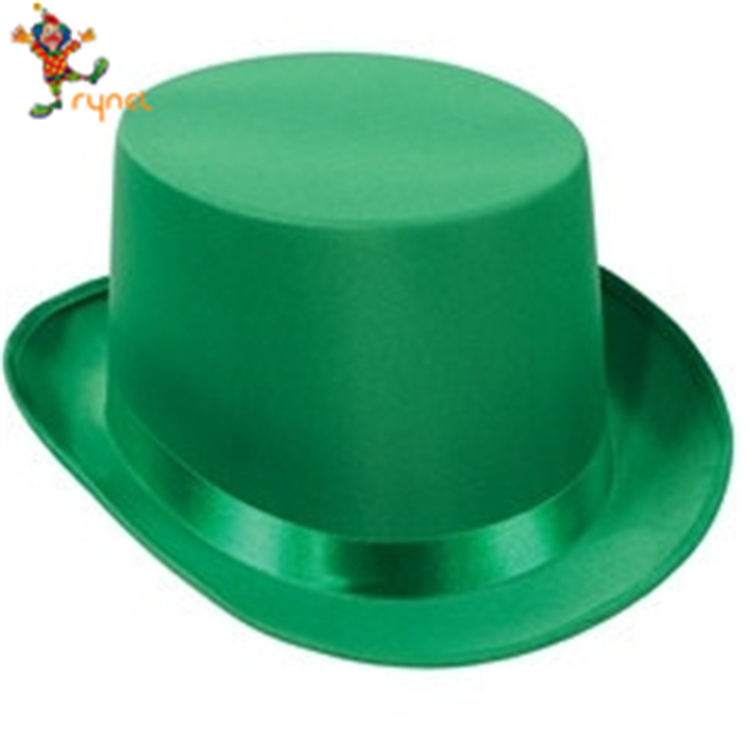 St Patricks Day Green Satin Top Hat With Band Adult Leprechaun Costume Hat