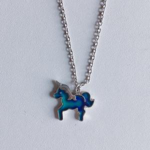 New arrival unicorn changing color mood change necklace