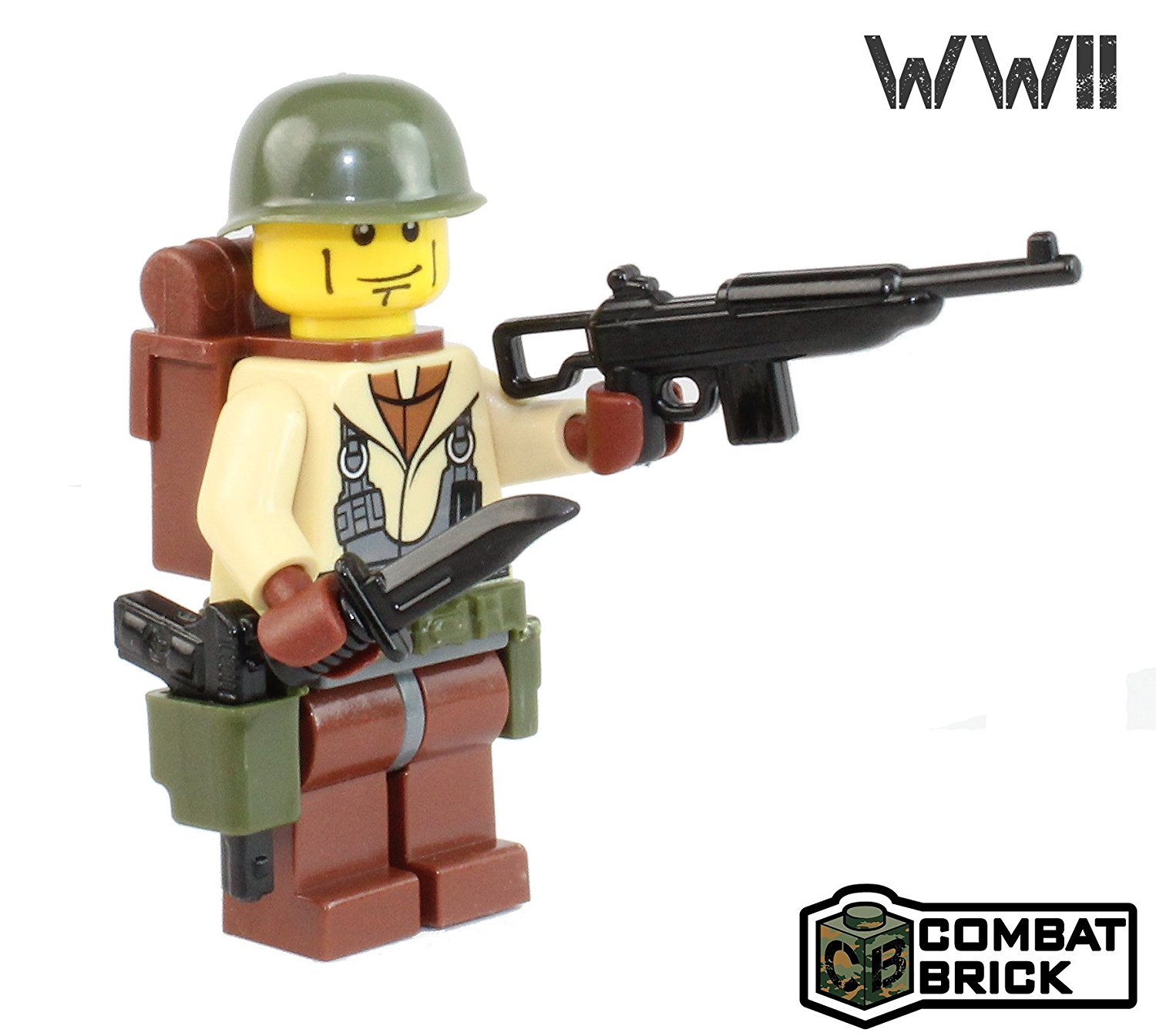 US Army WW2 101st Airborne Paratrooper : WW2 Action Figure and weapons - Custom Military Brick Builder Minifigure by CombatBrick