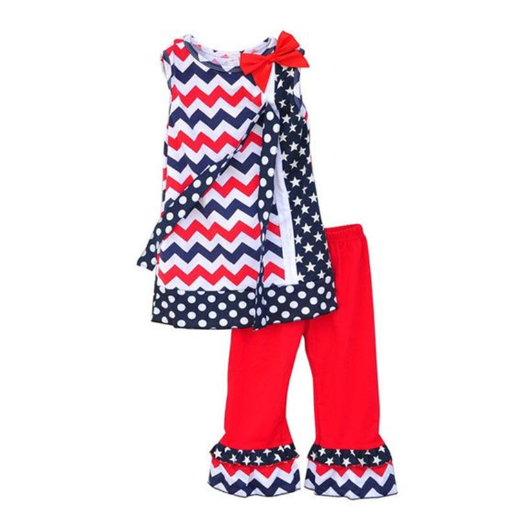 Bulk sale children clothes 4th of july girls outfit set