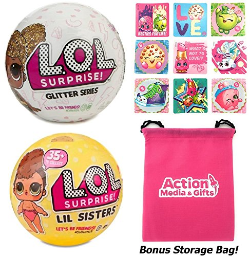 LOL Surprise Dolls Gift Bundle includes (1) Limited Edition Glitter + (1) Series 3 Lil Sister + 9 Shopkins Stickers + BONUS Action Media Storage Bag!