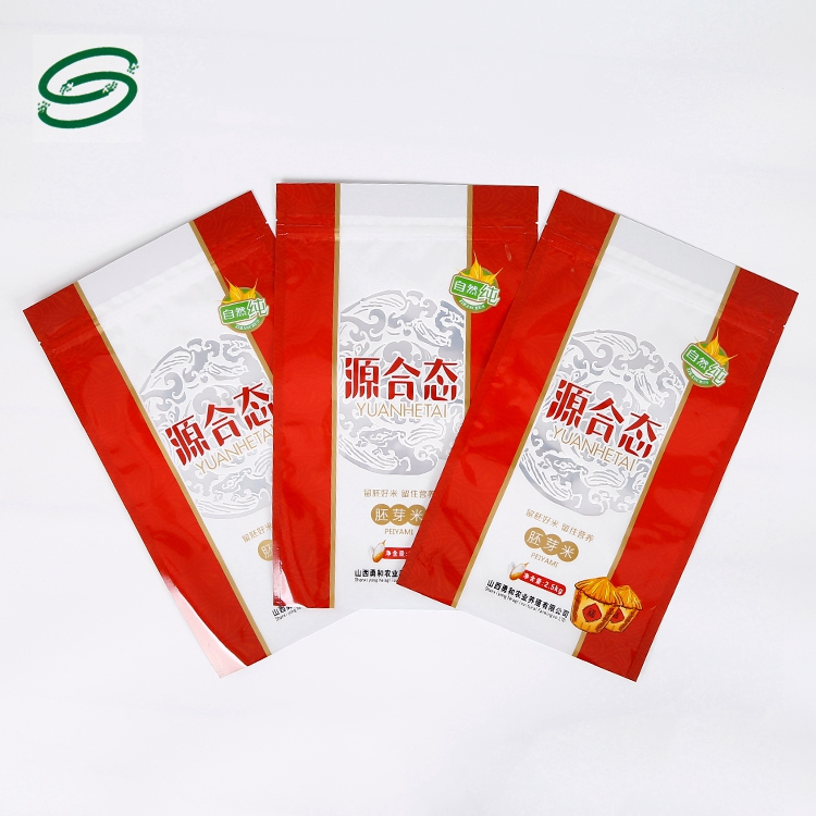 Custom colorful printing stand up flat bottom zip lock potato chips snack food cookie packaging bag