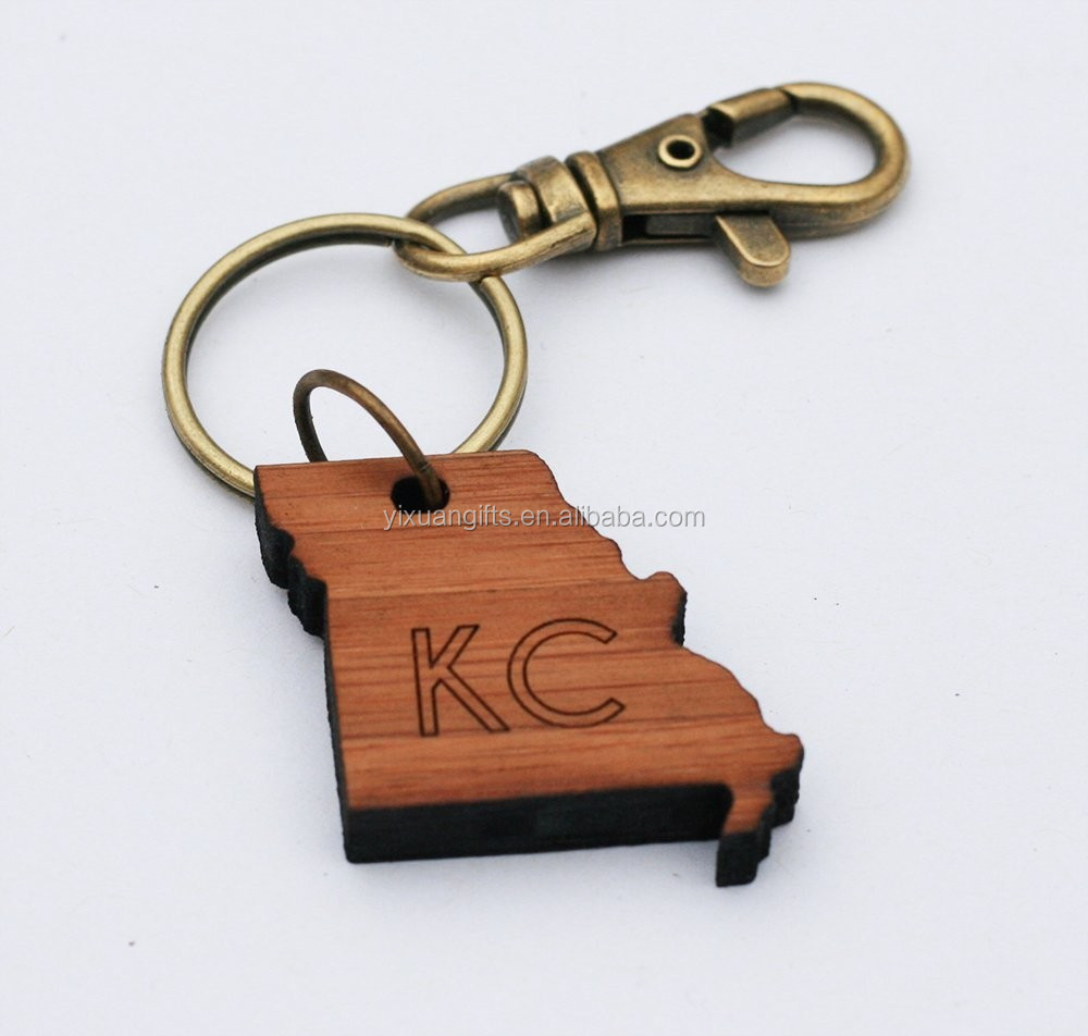 Kansas City Laser Cut Bamboo Key Chain; KC Missouri Keychain