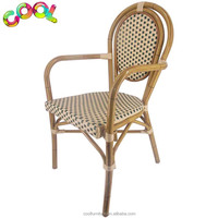 Outdoor bGarden Dining Chairs Aluminum And Cane Mahogany Bistro Restaurant Cafe Imitation Bamboo Coating Woven Rattan Arm Chairs