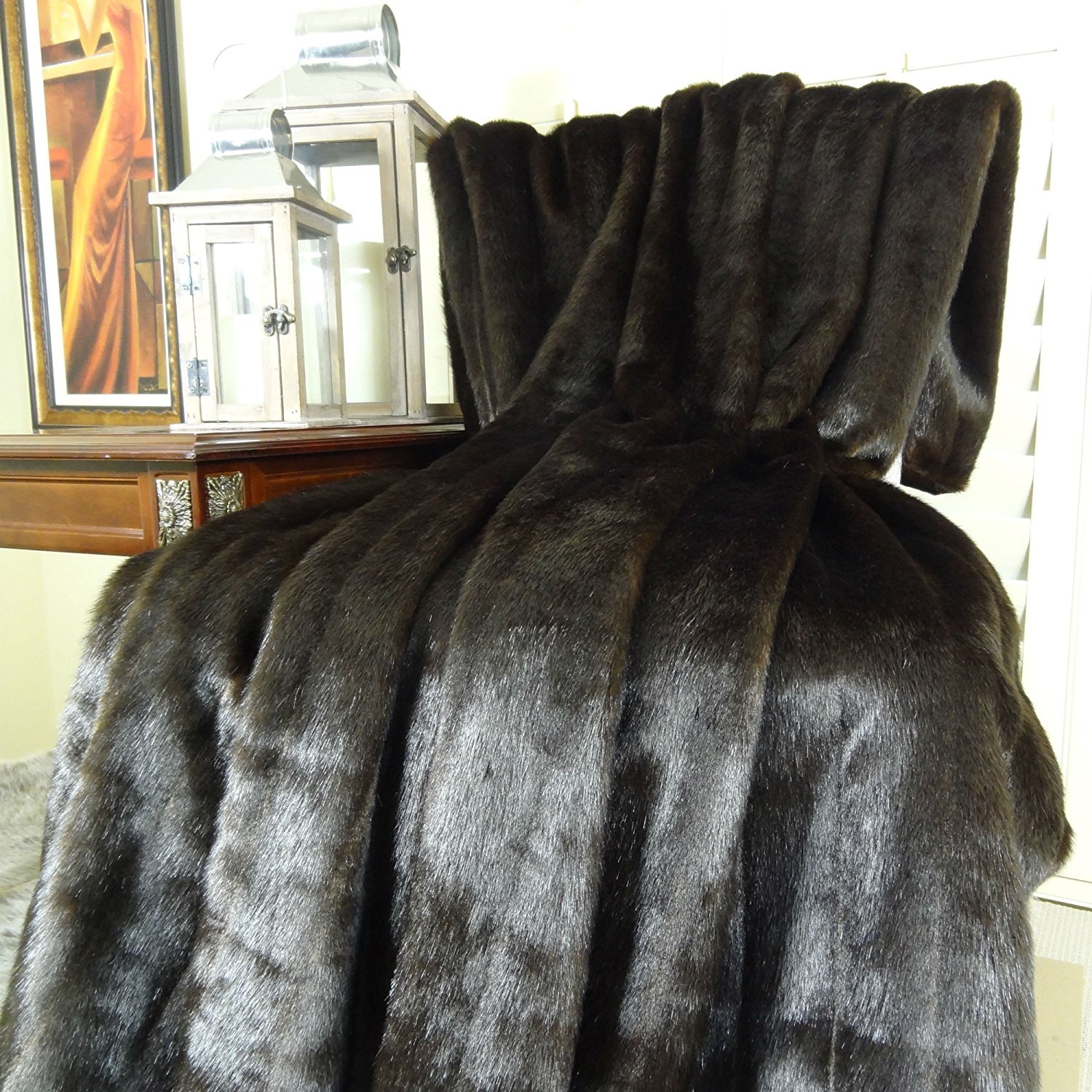 Thomas Collection Handmade in USA Luxury Faux Fur Throw Blanket Bedspread for Couch Sofa Bed, Dark Brown Mink - 16425