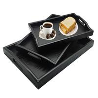 Set of 3 Large Wooden Handles Decorative Rectangular Wood Display Tray Nesting Breakfast Serving Trays for kitchen Party