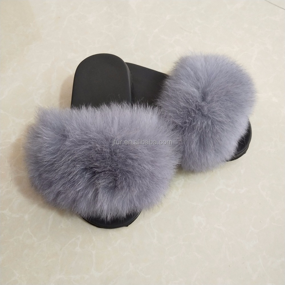 Women Rubber Cheap Wholesale Indoor Colorful fox fur custom slippers for women ladies slippers designs