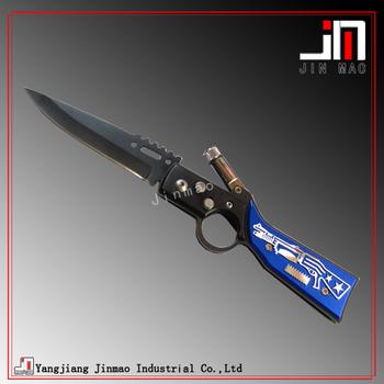 Sharp Blade Black Coated Jimping Flick Knife With Oxidized Aluminum Handle  - Buy Foldable Pocket Knife,Stainless Steel Camping Knife,Led Light