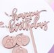 Happy Birthday Acrylic Cupcake Topper, Rose Gold Mirror Birthday Cake Supplies Decorations