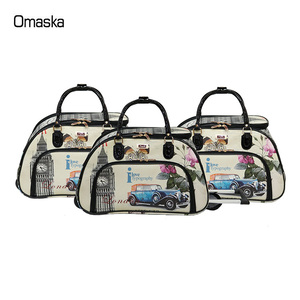New Design Factory PU Printing 3Pcs Set Women Wheeled Weekend Holdall Trolley Travel Bag