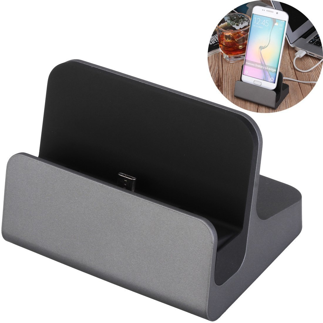 Micro USB Charge Dock Cradle - Rerii Desktop 5-Pin Micro USB Charge Dock Cradle, Charging and Date Transferring, Come with Micro USB Cable for Samsung Mobile Phones