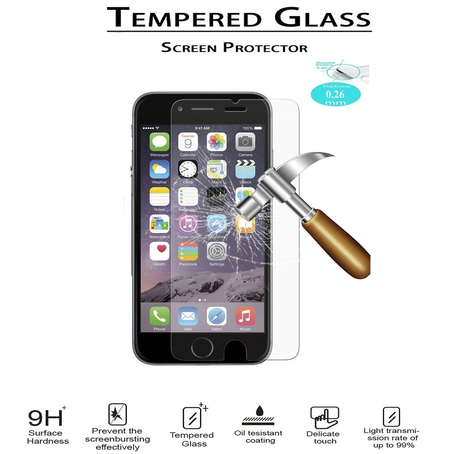 """iPhone 6/6s Screen Protector, iPhone 6s 4.7"""" Screen Protector, Speedtek TEMPERED GLASS Screen Protector for Apple iPhone 6/6s 4.7"""" - Crystal Clear - 9H Hardness Scratch [1-Pack,0.26mm,2.5D Rounded Edges]"""