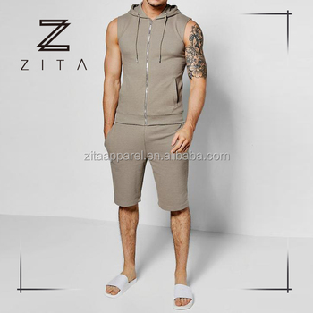 Private Label Mens Sports Workout Clothing Fashion Sweatsuit Jogging Wear  Custom Sleeveless Hoodie With Shorts In 9366d3a57