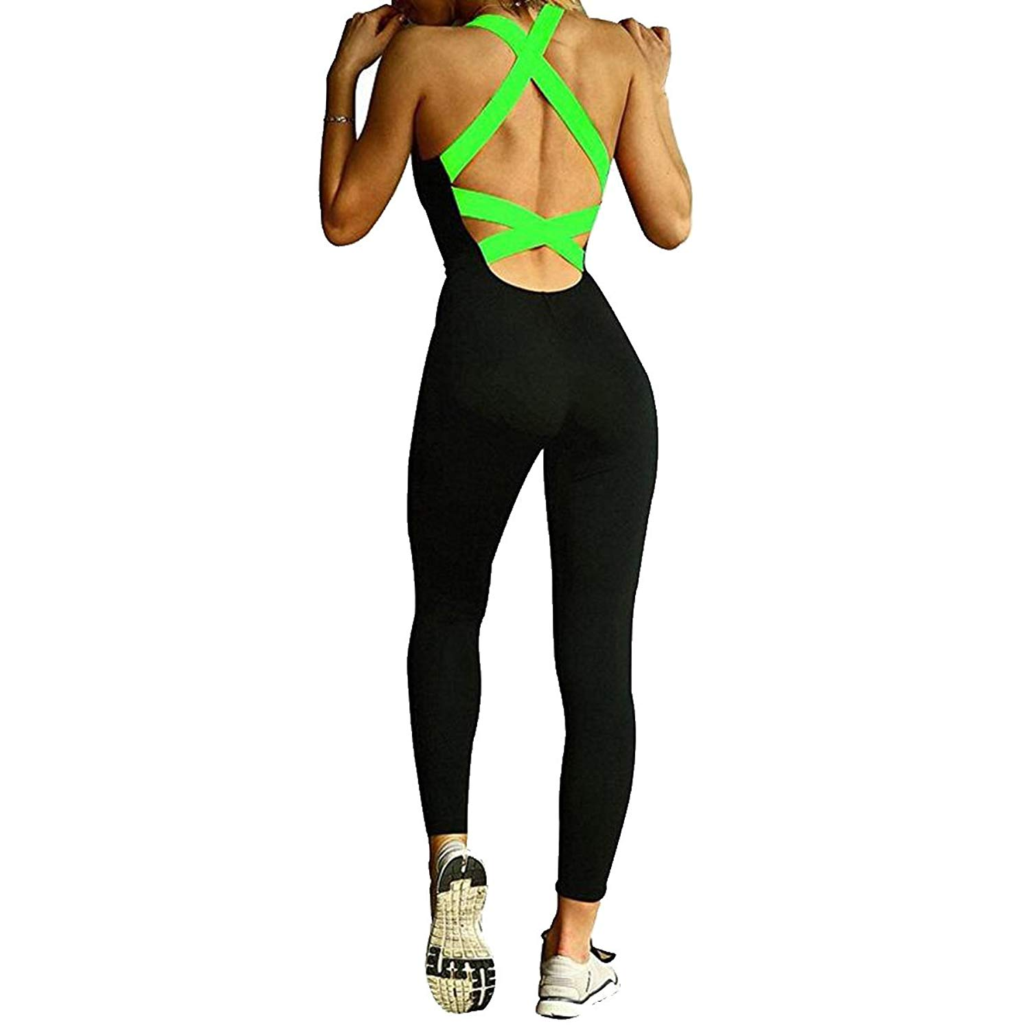 66b67cc1cf5 Get Quotations · Leezeshaw Women s Skinny Tight Bandage Sports Yoga Pants  Jumpsuits Rompers Playsuit