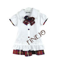 Girls Kids Children's Wear Navy Uniform Short Sleeve School Uniform Dress 16149