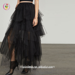 Latest Long Maxi Tutu Skirt Design Black Layered Ladies Maxi Skirt