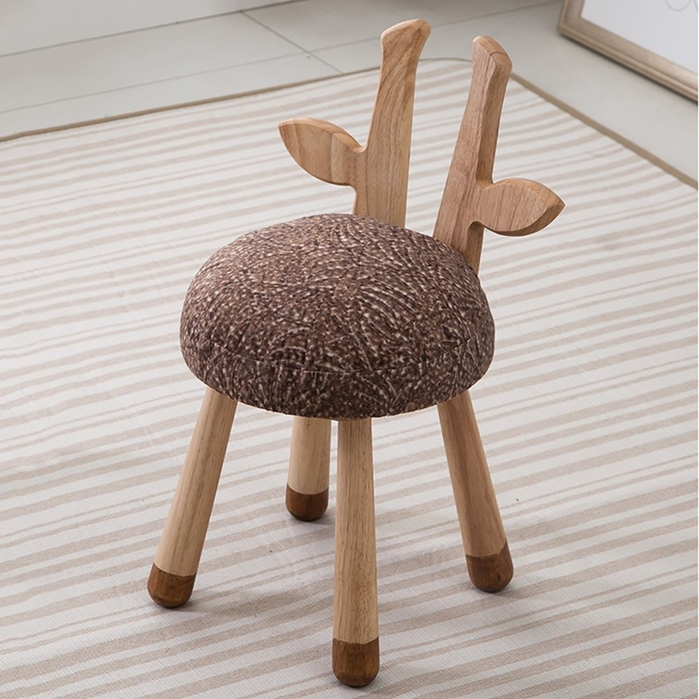 ZAYJD XRXY Solid Wood Creative Children Stool/Simple Animal Stool/Living Room Sofa Stool/Baby Change Shoes Stool (Color : D)