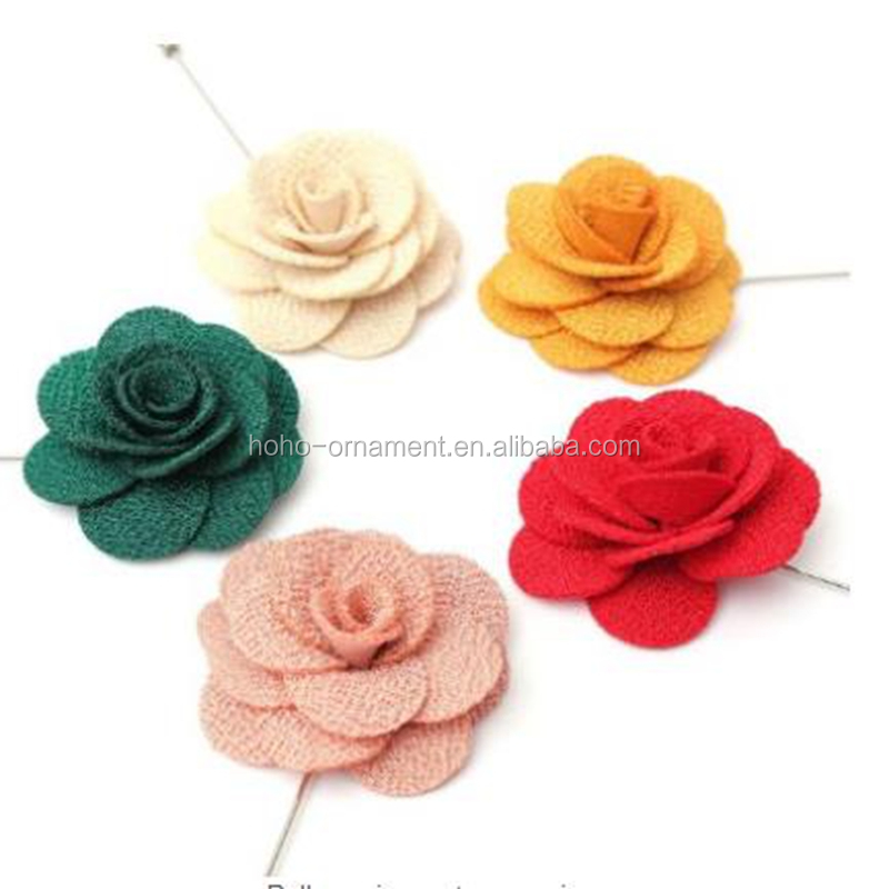 4.5cm Fashion Women Lapel Stick Fabric Flowers Pin Brooches Corsage Wedding Boutonniere
