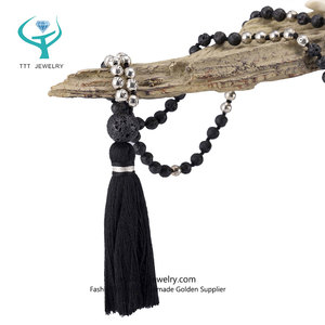 Yoga Bead Necklace Supplier Handmade Japan Bodhi Seed Mala with Customized Long Nice Tassel