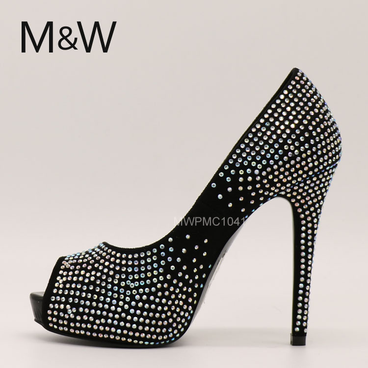 high quality cheap black color rhinestones lady peep toe high heel