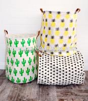 Custom Laundry Basket Canvas Fabric Foldable Storage Basket Wholesale