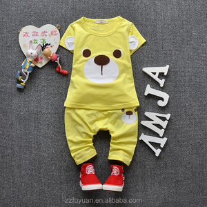 2016 summer new casual short sleeve t-shirt sets for boy and girl 84