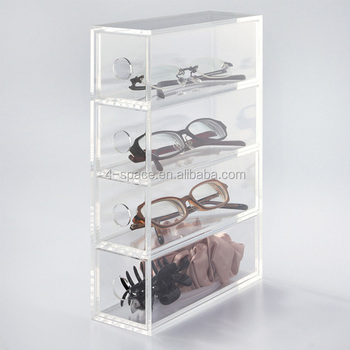 Acrylic 4 Tired Eyeglass Storage Box Clear Sunglass Display Case With Drawer