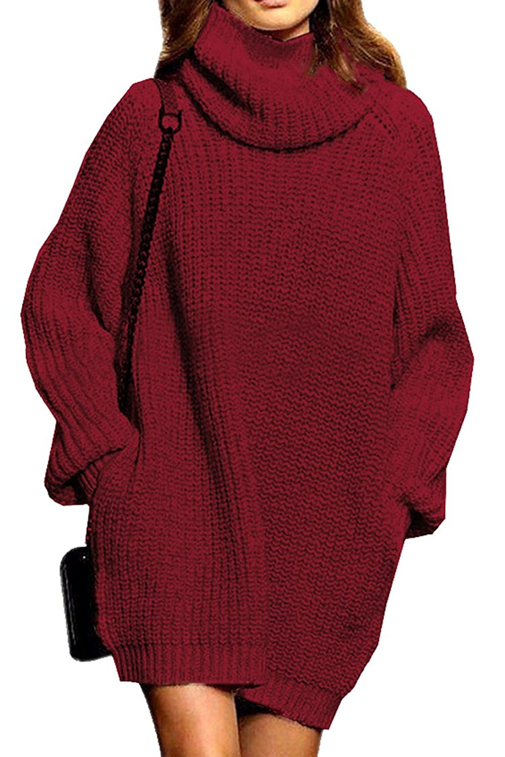 d98499ea40b Get Quotations · Lacostew Women s Long Sweater Turtleneck Cable Knit Loose Sweater  Dress