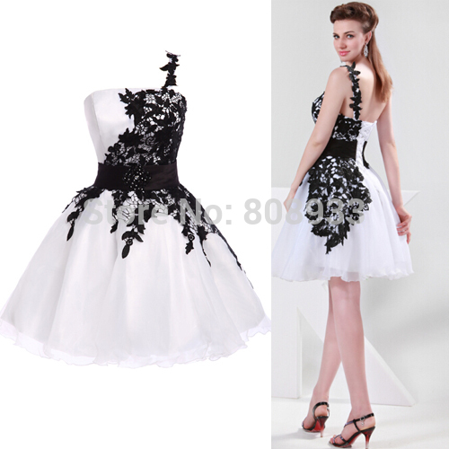 9c31b8ae80a Women Elegant Cocktail dresses Black and White Lace Cocktail Party Mini Dress  Prom Homecoming 2015 vestido