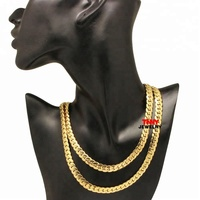 "7/9mm 18""-36"" HipHop Jewelry Stainless Steel Men Miami Curb Cuban 18K Gold Plated Silver NK Link Chain Necklace"