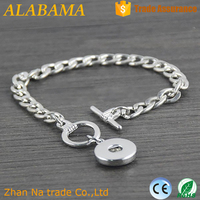 Factory directly simple design thin silver plated link chain bracelet snap button bracelet for women