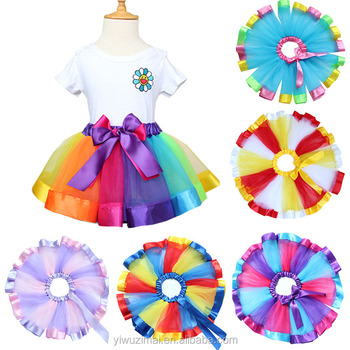 Hot Multicolor Baby Girl's Boutique Rainbow Ribbon Bow TUTU Skirt Kids Girl Princess Dance Tulle Skirts