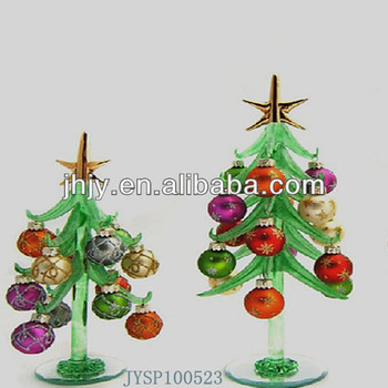 Mini Crystal Glass Christmas Trees With 12 Crystal Ornaments
