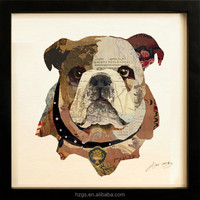 Wholesale Cheap Canvas Art 3D Picture of Little Dog for Hotal/ Home Decor