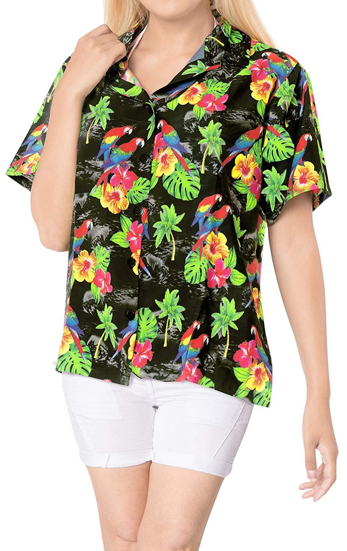 8f4ce3d6a3bb7 Get Quotations · La Leela Blouses Beach Plus Size Ladies Plus Button Down  Relaxed Women Hawaiian Shirt Holiday Short