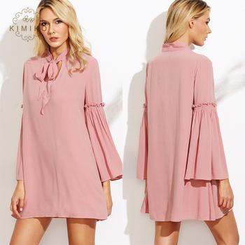 cda73c43455 Весна стильная женская одежда розовый галстук шеи Frill Bell Sleeve Shift  Dress