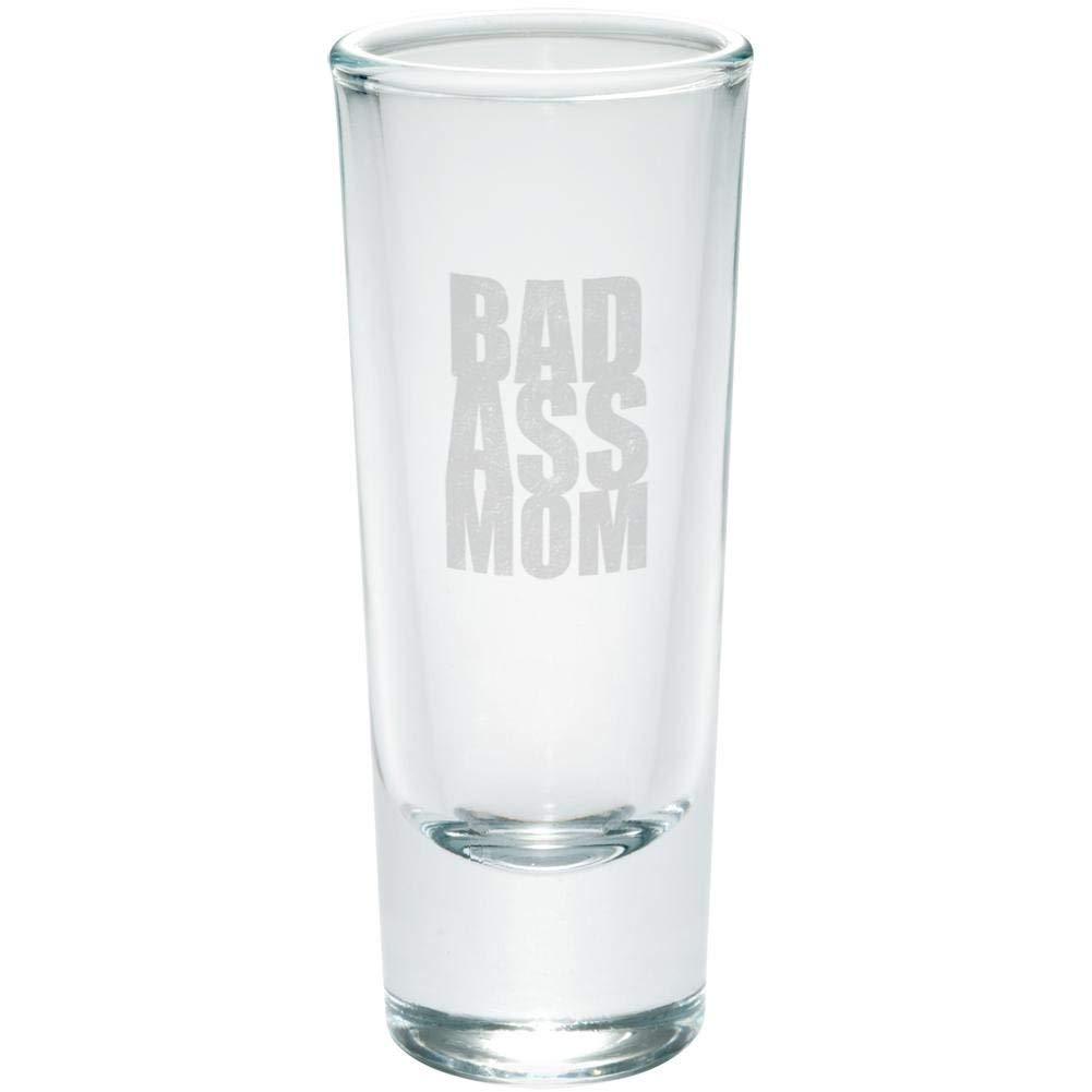 Mother's Day Bad Ass Mom Etched Shot Glass Shooter Clear Glass Standard One Size