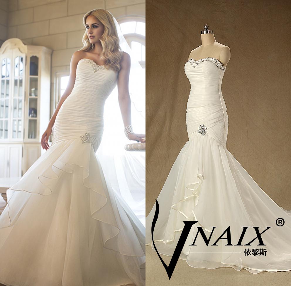 Crystal Bodice Wedding Gown: Custom Made 2015WV223 Pleated Bodice Crystal Sweetheart