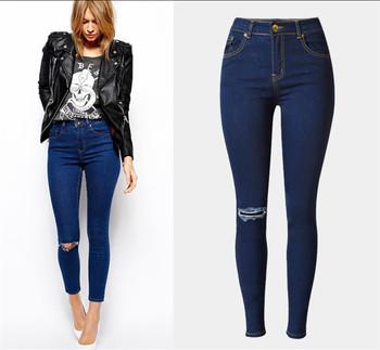 68c3e1651 C73208A damas alta cintura de moda elástico jeans dama pies estrechos pantalones  vaqueros